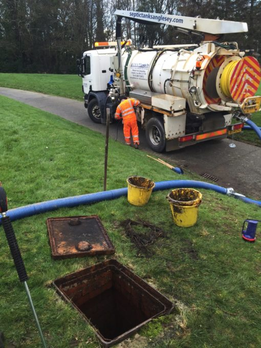 AE & AT Lewis tanker emptying a septic tank