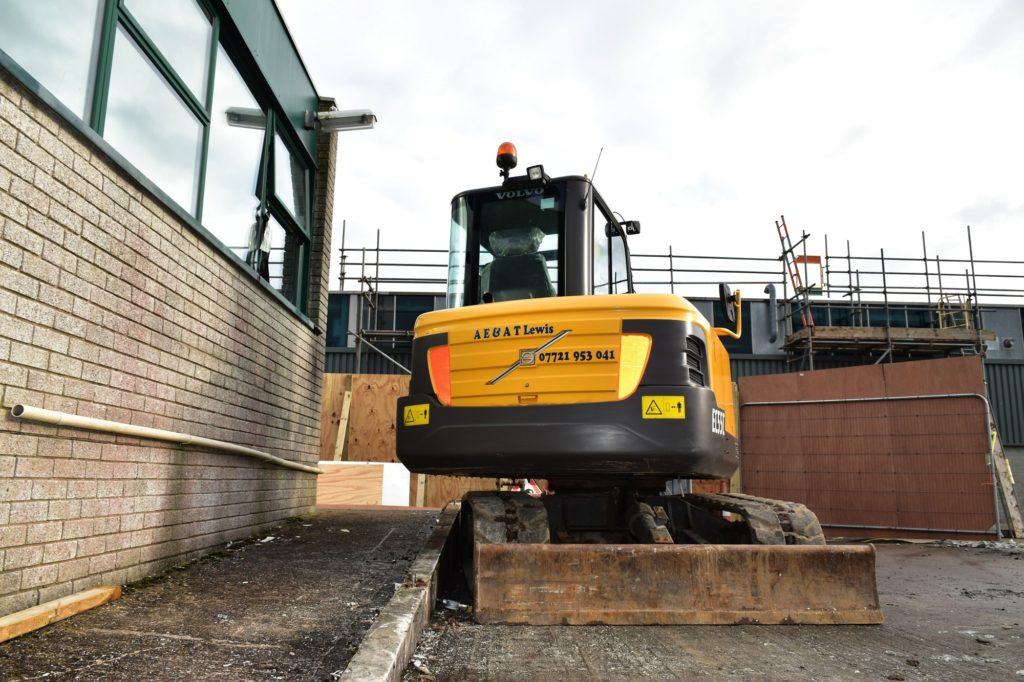 AE & AT Lewis mini excavator on site