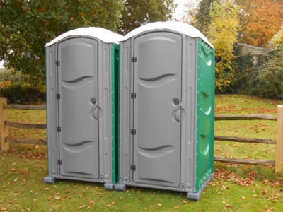 A pair of portable toilets